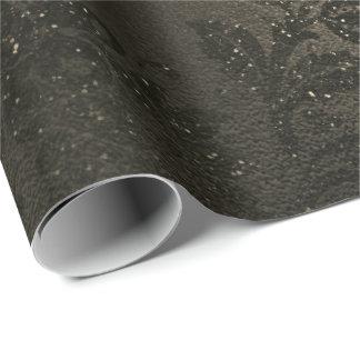 Sepia Maroon  Black Floral Metallic Glam Sprark Wrapping Paper