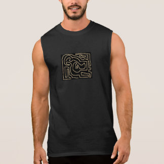 Sepia Maze on Black Sleeveless Shirt