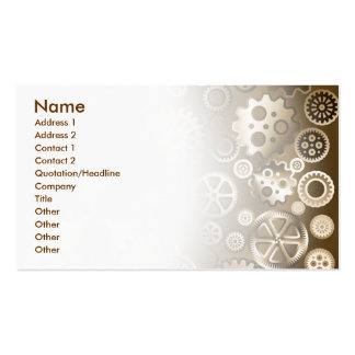Sepia metallic gears business card