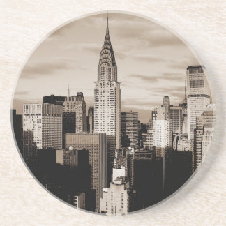Sepia New York City Ink Sketch Coaster