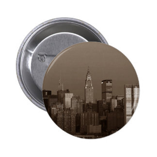 Sepia New York City Skyline 2 Inch Round Button