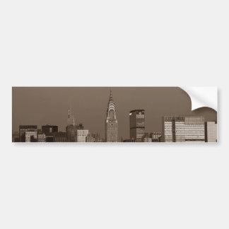 Sepia New York City Skyline Bumper Sticker