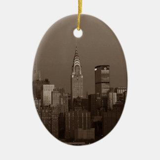 Sepia New York City Skyline Ceramic Oval Ornament