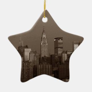 Sepia New York City Skyline Ceramic Star Ornament