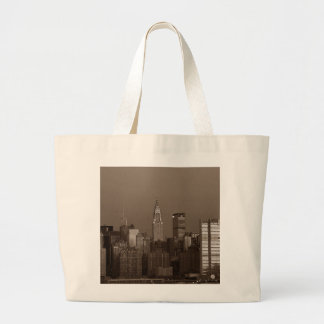 Sepia New York City Skyline Large Tote Bag