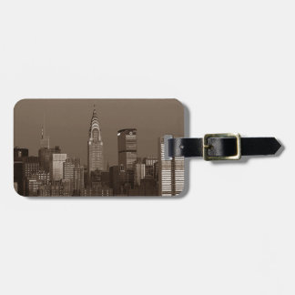 Sepia New York City Skyline Luggage Tag