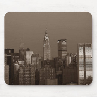 Sepia New York City Skyline Mouse Pad