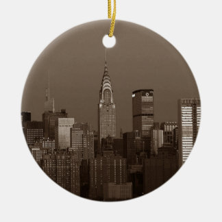 Sepia New York City Skyline Round Ceramic Ornament