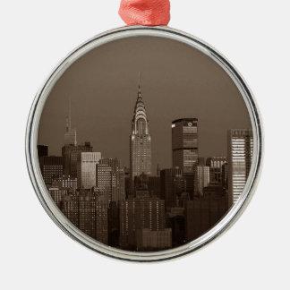 Sepia New York City Skyline Silver-Colored Round Ornament