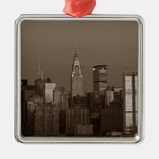 Sepia New York City Skyline Silver-Colored Square Ornament