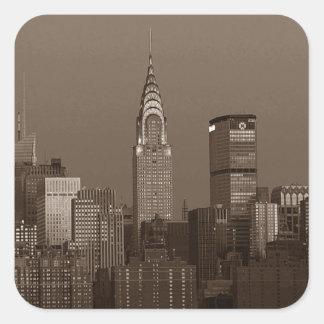 Sepia New York City Skyline Square Sticker