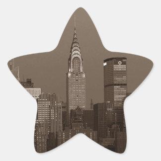 Sepia New York City Skyline Star Sticker
