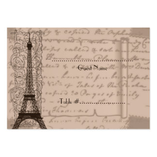 Sepia Parisian Wedding Seating Card Large Business Card