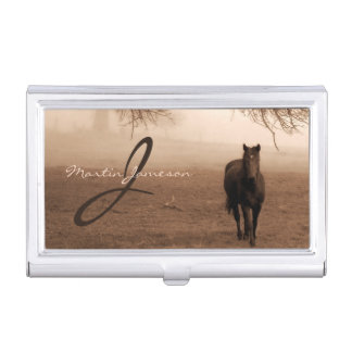 Sepia Photograph if the Old Oak and the Steed Business Card Holder