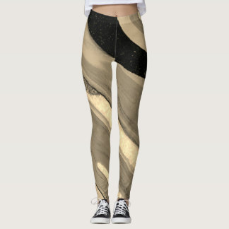 Sepia Poured-Paint Abstract - Leggings