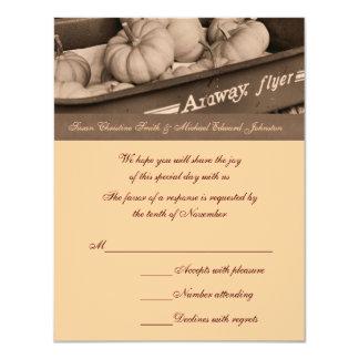 Sepia Pumpkins Wagon Wedding Response RSVP Card