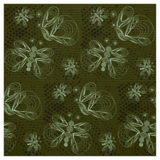 Sepia retro pattern with butterflies fabric