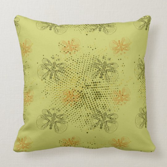 Sepia retro pattern with butterflies throw pillow