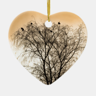 Sepia Roosting birds Ceramic Heart Ornament