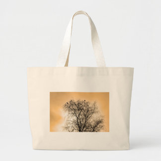 Sepia Roosting birds Large Tote Bag