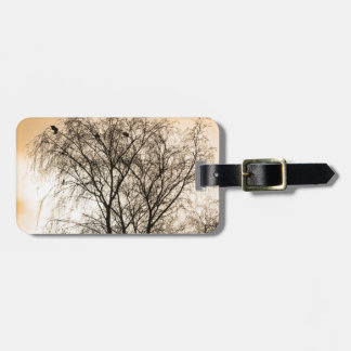 Sepia Roosting birds Luggage Tag