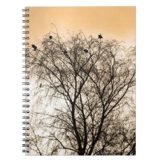 Sepia Roosting birds Notebook