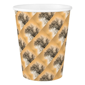 Sepia Roosting birds Paper Cup