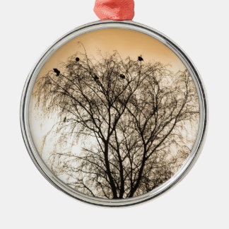 Sepia Roosting birds Silver-Colored Round Ornament