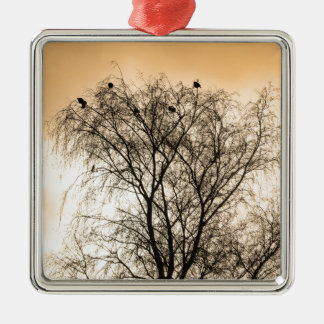 Sepia Roosting birds Silver-Colored Square Ornament