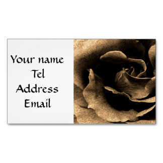 Sepia Rose in Ink Business Card Magnet