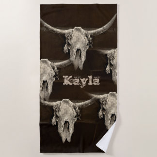 Sepia rustic buffalo skull with horns beach towel