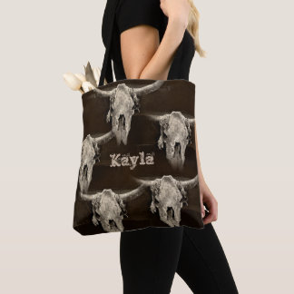 Sepia rustic buffalo skull with horns tote bag