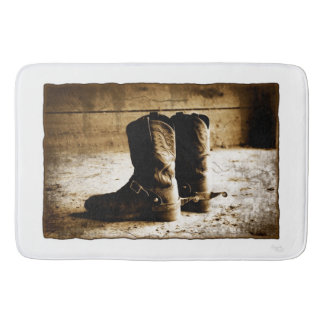 Sepia Rustic Cowboy Boots Bath Shower Mat