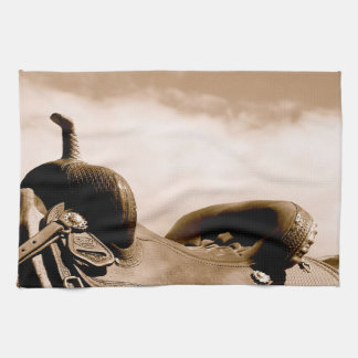 Sepia Saddle Kitchen Towel Western Ranch Life