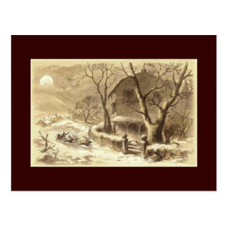 Sepia Santa and Reindeer Postcard