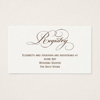 Sepia Script Wedding Registry Information Card