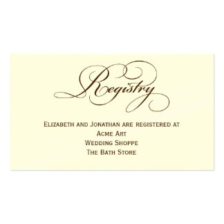 Sepia Script Wedding Registry Information Card Business Card