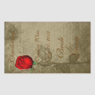 Sepia Spot Color Red Rosebud Wedding Wine2 Sticker