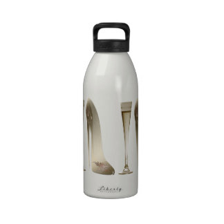Sepia Stiletto Shoe and Celebration Champagne Reusable Water Bottles