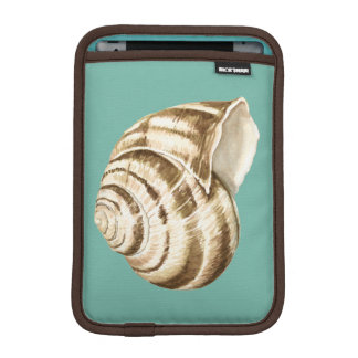 Sepia Striped Shell on Teal iPad Mini Sleeve
