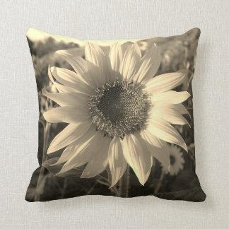 Sepia Summer Sunflower Pillow