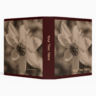Sepia Sunflower Up Close Floral 3 Ring Binders