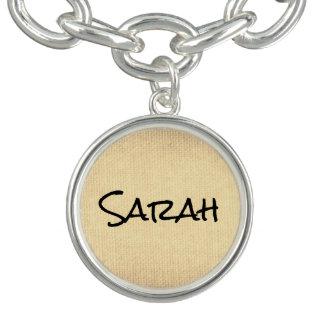 Sepia Texture Custom Name Bracelet