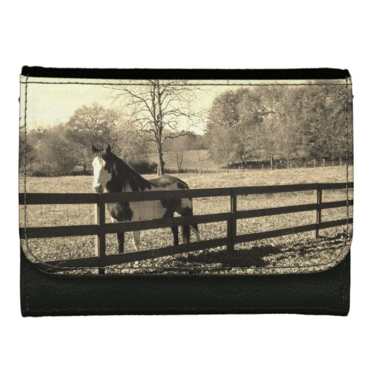 Sepia Tone Black And White Horse Wallets