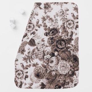 Sepia Tone Black & White Vintage Floral Toile Baby Blanket