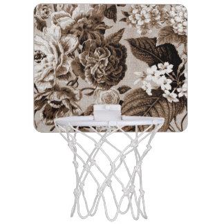 Sepia Tone Brown Floral Toile No.1 Mini Basketball Hoop