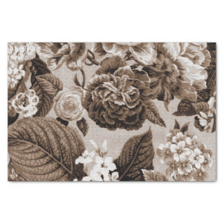 Sepia Tone Brown Vintage Floral Toile No.1 Tissue Paper
