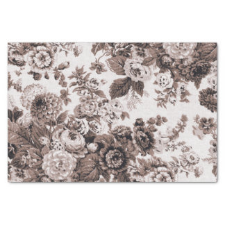 Sepia Tone Brown Vintage Floral Toile No.3 Tissue Paper