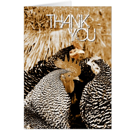 Sepia Tone Chickens Wedding Thank You Cards