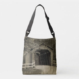 Sepia Tone Sandy Creek Covered Bridge Crossbody Bag